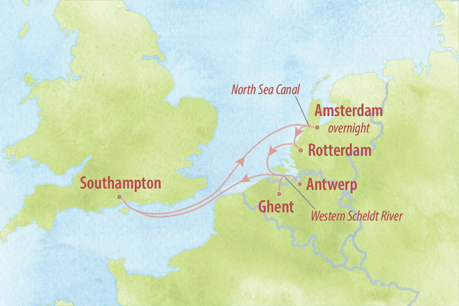 Low Countries Cruise Map